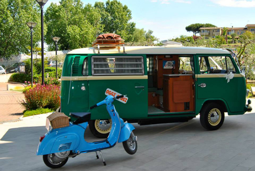 pulmino e vespa camper & bike